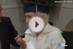 97-year-old tearfully accepts her high school diploma