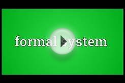Formal system Meaning