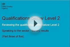 Reviewing the qualifications offer below Level 2: part