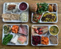 What children in other countries eat (clockwise from top left): Ukraine's version of sausage and mash; Brazil's plantains, rice and black beans; beetroot salad and pea soup in Finland and steak with beans and carrots in France (photo courtest Sweetgreen)